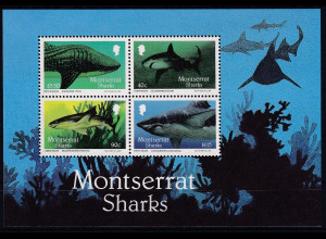 Montserrat 1987 Mi.-Nr. Block 43 postfrisch ** / MNH Haie