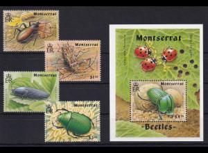 Montserrat 1994 Mi.-Nr. 883-887 Satz, Block 66 postfrisch ** / MNH Käfer