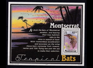 Montserrat 1988 Mi.-Nr. Block 47 postfrisch ** / MNH Fledermaus