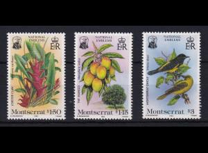 Montserrat 1985 Mi.-Nr. 565-567 Satz postfrisch ** / MNH Bäume und Vögel