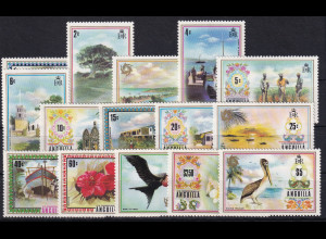 Anguilla 1972 Mi.-Nr. 145-159 Satz postfrisch ** / MNH Freimarken