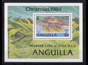 Anguilla 1988 Mi.-Nr. Block 81 postfrisch ** / MNH Weihnachten 1988, Languste