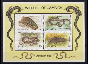 Jamaika 1984 Mi.-Nr. Block 24 postfrisch ** / MNH Schlangen