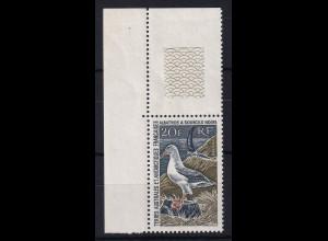 Französische Antarktis 1968 Mi.-Nr. 41 postfrisch ** / MNH Eckrandstück, Vogel