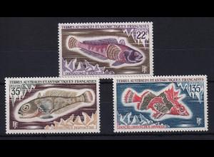 Französische Antarktis 1971 Mi.-Nr. 68-70 postfrisch ** / MNH Fische
