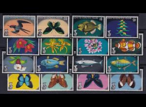 Solomon Islands 1972 Mi.-Nr. 219-233 postfrisch ** / MNH Tiere