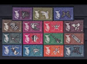 Solomon Islands 1965 Mi.-Nr. 113-127 postfrisch ** / MNH Tiere
