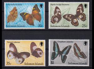 Solomon Inseln 1982 Mi.-Nr. 455-458 postfrisch ** / MNH Schmetterlinge