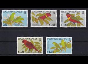 Solomon Islands 1996 Mi.-Nr. 404-408 postfrisch ** / MNH Papageien