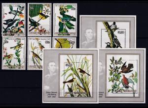 Cook Islands 1985 Mi.-Nr. 1038-1043, Block 152-154 postfrisch ** / MNH Vögel