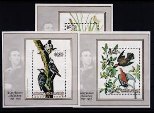 Cook Islands 1985 Mi.-Nr. Block 152-154 postfrisch ** / MNH Vögel