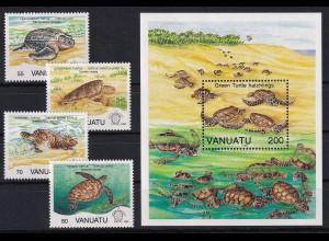 Vanuatu 1992 Mi.-Nr. 901-904, Block 19 postfrisch **/ MNH Schildkröten