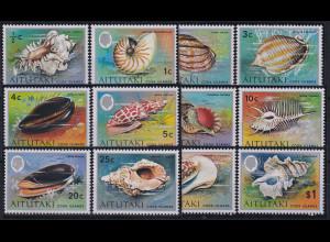 Aitutaki 1974 Mi.-Nr. 94-105 postfrisch **/ MNH Muscheln