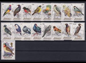 Aitutaki Mi.-Nr. 505-521 (Satz ohne 522-524) postfrisch **/ MNH Vögel