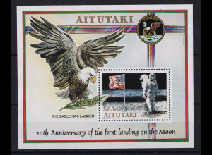 Aitutaki 1989 Mi.-Nr. Block 73 postfrisch **/ MNH 20. Jubiläum der Mondlandung
