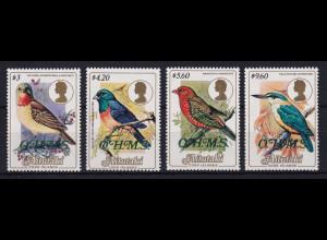 Aitutaki Dienstmarken Mi.-Nr. 34-37 postfrisch **/ MNH Vögel