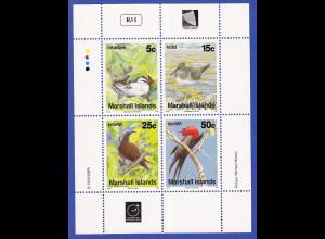 Marshall-Islands 1990 Mi.-Nr.284-287 Kleinbogen postfrisch **/ MNH Vögel