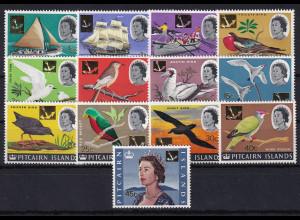 Pitcairn Islands Mi.-Nr. 72-84 postfrisch **/ MNH Vögel und Schiffe