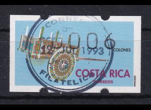 Costa Rica, Klüssendorf-ATM Geschmückter Karren, Wert 006, Mi.-Nr. 1 mit ET-O