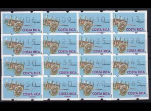 Costa Rica Klüssendorf-ATM Karren Mi-Nr. 1 Tastensatz 16 Werte 6-85 **