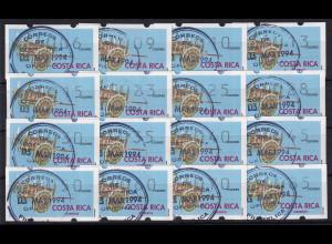 Costa Rica Klüssendorf-ATM Karren Mi-Nr. 1 Tastensatz 16 Werte 6-85 gestempelt