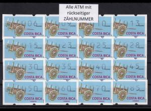 Costa Rica Klüssendorf-ATM Karren Mi-Nr. 1 Tastensatz 16 Werte 6-85 ** alle Nr.