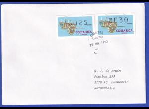Costa Rica Klüssendorf-ATM Karren Mi-Nr. 1 Werte 25 und 30 auf gel. FDC nach NL