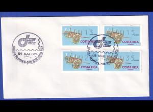 Costa Rica Klüssendorf-ATM Karren Mi-Nr. 1 Satz 13-15-25-35 gest auf Umschlag