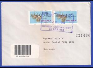 Costa Rica Klüssendorf-ATM Karren Mi-Nr. 1 Werte 25 + 30 auf Inlands-R-FDC
