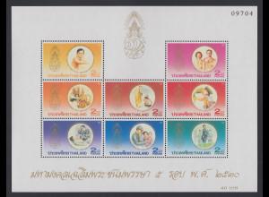 Thailand 1987 60.Geburtstag König Bhumibol Mi.-Nr. Block 19 ** / MNH