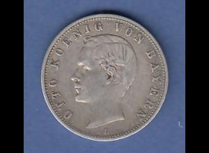 Dt. Kaiserreich Bayern 2-Mark Silbermünze König Otto. 1902 D
