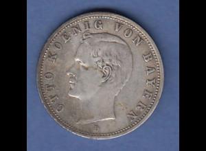 Dt. Kaiserreich Bayern 2-Mark Silbermünze König Otto. 1901 D