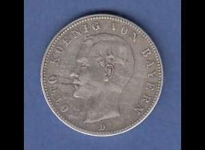 Dt. Kaiserreich Bayern 2-Mark Silbermünze König Otto 1899 D