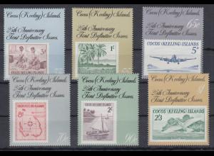 Kokos-Inseln 1988 Mi.-Nr. 192-97 Satz postfrisch **/ MNH 25 Jahre Briefmarken