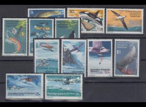 Australische Antarktis 1973 Mi.-Nr. 23-34 postfrisch **/ MNH Meerestiere etc.