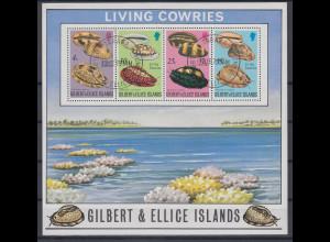 Gilbert- Ellice Inseln 1975 Mi.-Nr. Block 2 postfrisch **/ MNH Meeresschnecken