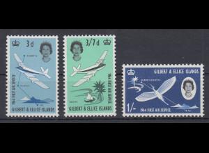 Gilbert- Ellice Inseln 1964 Mi.-Nr. 77-79 Satz postfrisch **/ MNH Flugverbind.