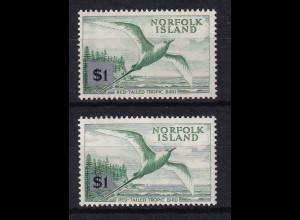 Norfolk Island 1966 Mi.-Nr. 73 in beiden Typen I und II postfrisch **/ MNH Vogel