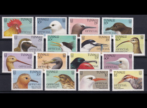 Tuvalu 1988 Dienstmarken OFFICIAL Mi.-Nr. 35-50 kpl. postfrisch **/ MNH Vögel