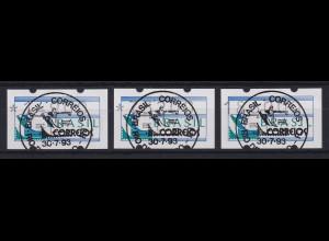 Brasilien 1993 ATM BRASILIANA Satz 14900-73200-186000 mit Ersttags-So-O 30.7.93