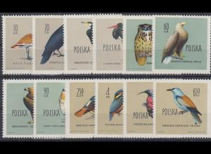 Polen / Polska 1960 Geschützte Vögel Polens Mi.-Nr. 1197-1208 **