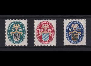 Dt. Reich Nothilfe 1925 Wappen Preußen, Bayern, Sachsen Mi.-Nr. 375-377 *