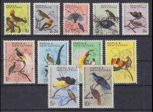 Papua Neu Guinea 1964/65 Freimarken einheimische Vögel Satz Mi.-Nr. 62-72 O