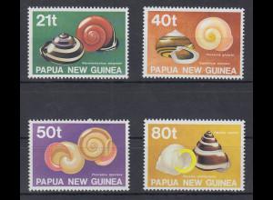 Papua Neu Guinea 1991 Gehäuse von Landschnecken Satz Mi.-Nr. 631-34 **
