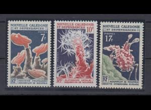 Neukaledonien 1964 Aquarium von Noumea Satz Mi.-Nr. 402-04 **