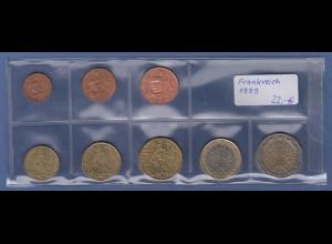 Frankreich EURO-Kursmünzensatz Jahrgang 1999 bankfrisch / unzirkuliert