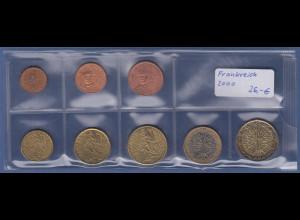 Frankreich EURO-Kursmünzensatz Jahrgang 2000 bankfrisch / unzirkuliert