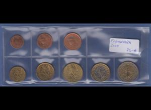 Frankreich EURO-Kursmünzensatz Jahrgang 2001 bankfrisch / unzirkuliert