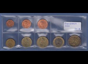 Frankreich EURO-Kursmünzensatz Jahrgang 2002 bankfrisch / unzirkuliert