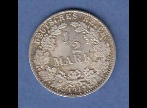 Deutsches Kaiserreich Silber-Kursmünze 1/2 Mark 1917 D